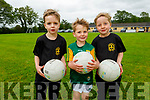 Aaron, Ronan and Gavin Brosnan looking forward to activities on the field as Currow GAA reopen their field.