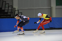 SCHAATSEN: SALT LAKE CITY: Utah Olympic Oval, 12-11-2013, Essent ISU World Cup, training, Ewen Fernandez (FRA), Bart Swings (BEL), ©foto Martin de Jong
