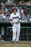 Connor Justus (22) of the Inland Empire 66ers bats against the Rancho Cucamonga Quakes at San Manuel Stadium on July 9, 2017 in San Bernardino, California. Inland Empire defeated Rancho Cucamonga 12-2. (Larry Goren/Four Seam Images)