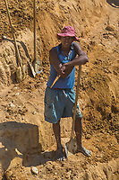Africa, Madagascar, Ilhorombe region, Ilakaka. One of the world's largest known alluvial sapphire deposits discovered in 1998. Men digging for precious minerals.