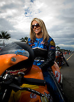 Oct. 31, 2008; Las Vegas, NV, USA: NHRA pro stock motorcycle rider Angie McBride during qualifying for the Las Vegas Nationals at The Strip in Las Vegas. Mandatory Credit: Mark J. Rebilas-