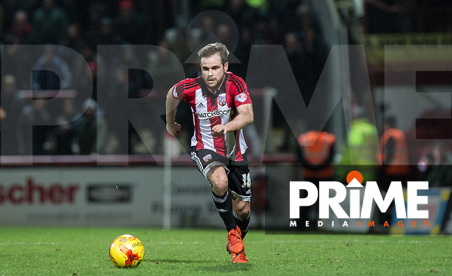 Alan Judge of Brentford in action during the Sky Bet Championship match between Brentford and Leeds United at Griffin Park, London, England on 26 January 2016. Photo by Andy Rowland / PRiME Media Images.