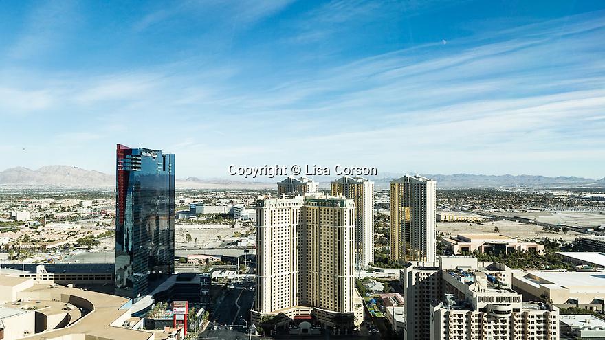 The view of the Las Vegas Strip from Benson Riseman's Las Vegas penthouse, Las Vegas, Nev., November 29, 2014.