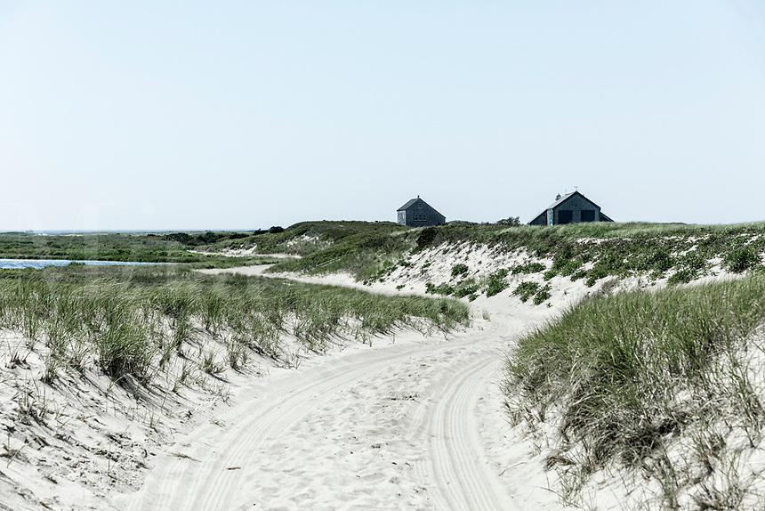 Remote coastal beach cottages, Nantucket, Massachusetts, USA.