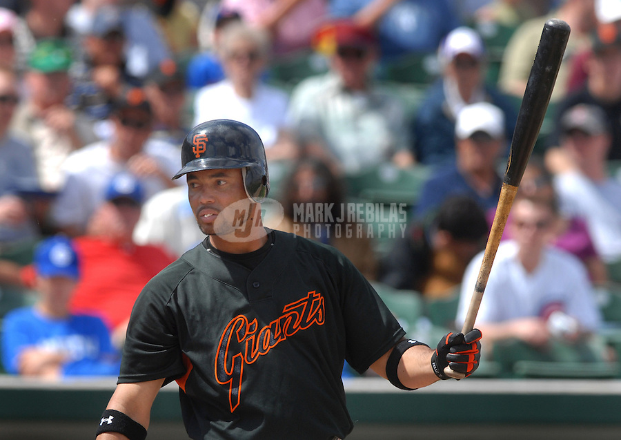 Mar 23, 2007; Mesa, AZ, USA; San Francisco Giants third baseman (7) Pedro Feliz against the Chicago Cubs at Hohokam Park in Mesa, AZ. Mandatory Credit: Mark J. Rebilas