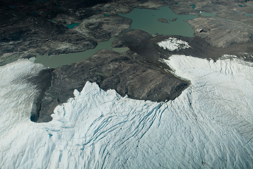 The edge of the Greenland Ice Cap, viewed from a helicopter, West Greenland, August 2011. Photo: Ed Giles.