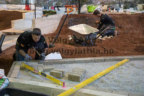 Participants compete in garden building during the EuroSkills European Championship of young professionals in Budapest, Hungary on Sept. 26, 2018. ATTILA VOLGYI
