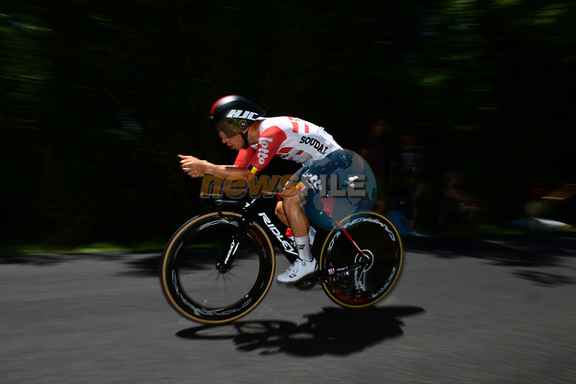Caleb Ewan (AUS) Lotto-Soudal in action during Stage 13 of the 2019 Tour de France an individual time trial running 27.2km from Pau to Pau, France. 19th July 2019.<br /> Picture: ASO/Pauline Ballet | Cyclefile<br /> All photos usage must carry mandatory copyright credit (© Cyclefile | ASO/Pauline Ballet)