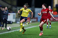 13th February 2020; Deva Stadium, Chester, Cheshire, England; Womens Super League Football, Liverpool Womens versus Arsenal Womens;  Katie McCabe of Arsenal Women runs down the wing tracked by Leighanne Robe of Liverpool Women