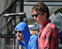 Donny Saville and Bruce Carter from Manchester England based pop/electronica band The Whip perform at The Pool Parties in McCarren Park Brooklyn ( 07-13-04)