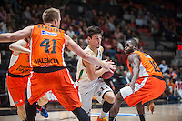 VALENCIA, SPAIN - NOVEMBER 3: Romain Sato, Justin Hamilton, Michele Ruzzier during EUROCUP match between Valencia Basket Club and CAI Zaragozaat Fonteta Stadium on November 3, 2015 in Valencia, Spain