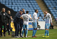 Coventry City Manager Russell Slade chats to his players during a break in play during the The Checkatrade Trophy - EFL Trophy Semi Final match between Coventry City and Wycombe Wanderers at the Ricoh Arena, Coventry, England on 7 February 2017. Photo by Andy Rowland.