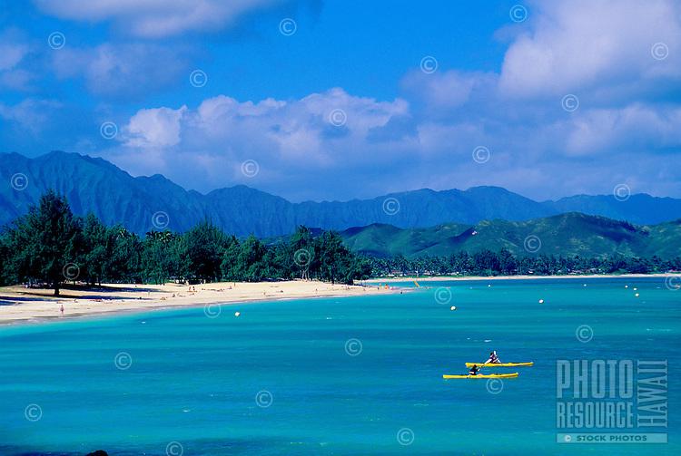 Kailua Beach with kayaks, Windward oahu
