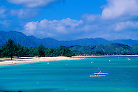 Kailua Beach with kayaks, Windward oahu