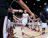 STANFORD, CA - February 10, 2013: Stanford Cardinal's Joslyn Tinkle before Stanford's game against Arizona State at Maples Pavilion in Stanford, California.  The Cardinal defeated the Sun Devils 69-45.