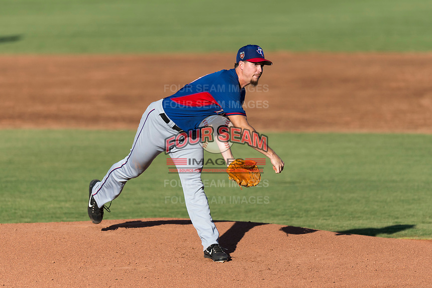 AZL Rangers starting pitcher Chi Chi Gonzalez (21) follows through on his delivery during a rehab start in an Arizona League playoff game against the AZL Indians 1 at Goodyear Ballpark on August 28, 2018 in Goodyear, Arizona. The AZL Rangers defeated the AZL Indians 1 7-4. (Zachary Lucy/Four Seam Images)