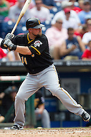 Pittsburgh Pirates  first baseman Casey McGhee #14 at bat during the Major League Baseball game against the Philadelphia Phillies on June 28, 2012 at Citizens Bank Park in Philadelphia, Pennsylvania. The Pirates defeated the Phillies 5-4. (Andrew Woolley/Four Seam Images).