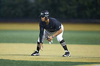 Christian Long (19) of the Wake Forest Demon Deacons takes his lead off of first base against the Virginia Cavaliers at David F. Couch Ballpark on May 18, 2018 in  Winston-Salem, North Carolina.  The Cavaliers defeated the Demon Deacons 15-3.  (Brian Westerholt/Four Seam Images)