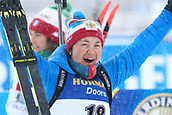 17th March 2019, Ostersund, Sweden; IBU World Championships Biathlon, day 9, mass start women; Ekaterina Yurlova-Percht (RUS) celebrates her 2nd placed finish
