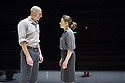 London, UK. 08.04.2014. A VIEW FROM THE BRIDGE, by Arthur Miller, opens at the Young Vic. Directed by Ivo Van Hove, design and light by Jan Versweyveld and costumes by An D'Huys. Picture shows: Mark Strong (Eddie) and Nicola Walker (Beatrice). Photograph © Jane Hobson.