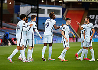 7th July 2020; Selhurst Park, London, England; English Premier League Football, Crystal Palace versus Chelsea; Tammy Abraham of Chelsea celebrates with his team mates after scoring his sides 3rd goal in the 71st minute to make it 3-1