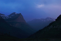 Mountains and lightning, Glacier National Park, Montana, USA