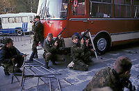 Moscow, Russia, 03/10/1993..Anti-Yeltsin forces storm the Mayor's offices with weapons seized from pro-Governemnt forces. When President Boris Yeltsin dissolved the opposition-dominated Russian Parliament,  deputies and supporters, led by Vice President Alexander Rutskoi, barricaded themselves inside the White House. After a 10 day stand-off the situation exploded into violence between pro and anti Yeltsin forces.