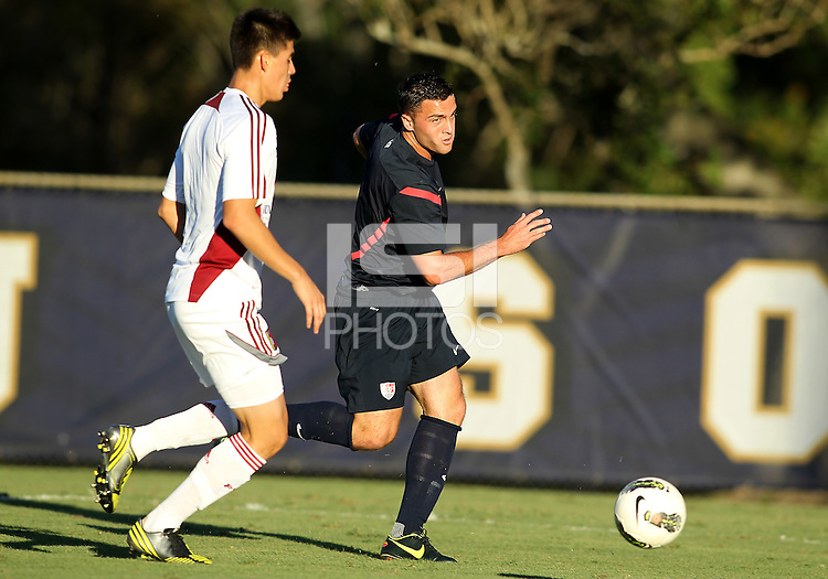 MIAMI, FL - DECEMBER 21, 2012:   Brandon Allen of the USA MNT U20 during a closed scrimmage with the Venezuela U20 team, on Friday, December 21, 2012, At the FIU soccer field in Miami.  USA won 4-0.