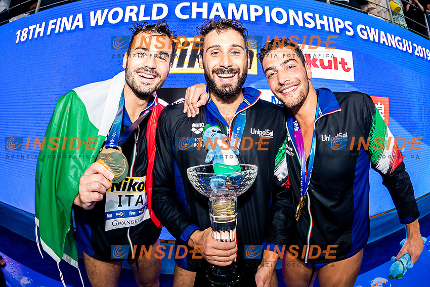 ITA - Italy Gold Medal Francesco Di Fulvio, Vincenzo Renzuto Iodice, Alessandro Velotto<br /> Gwangju South Korea 27/07/2019<br /> Waterpolo Spain v. Italy ESP - ITA Gold Final<br /> 18th FINA World Aquatics Championships<br /> Nambu University Grounds <br /> Photo © Giorgio Scala/ Deepbluemedia / Insidefoto