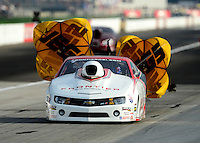Aug. 31, 2012; Claremont, IN, USA: NHRA pro stock driver Greg Stanfield during qualifying for the US Nationals at Lucas Oil Raceway. Mandatory Credit: Mark J. Rebilas-