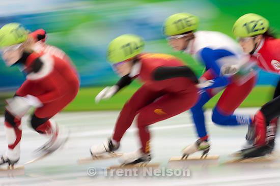 Trent Nelson  |  The Salt Lake Tribune.Women's 1000 m Quarterfinals, Short Track Speed Skating at the Pacific Coliseum Vancouver, XXI Olympic Winter Games, Friday, February 26, 2010. Stephanie Bouvier (France, 116), Jessica Gregg (Canada, 105), Zhou Yang (China, 114), Bernadett Heidum (Hungary, 123). Yang sets Olympic record