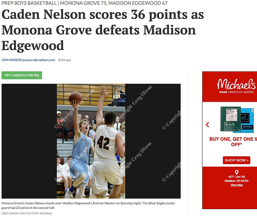 Monona Grove's Caden Nelson takes a shot over Edgewood's Andrew Newton, as Monona Grove takes on Madison Edgewood in Wisconsin Badger South Conference boys high school basketball on Saturday, 12/15/18 at Edgewood High School | Wisconsin State Journal article 12/16/18 in Sports B7, and online at https://madison.com/wsj/sports/high-school/basketball/boys/caden-nelson-scores-points-as-monona-grove-defeats-madison-edgewood/article_e637ca8b-7062-5cfd-a11d-cd9e7dd95b59.html