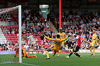 Neal Maupay scores Brentford's opening goal during Brentford vs Wigan Athletic, Sky Bet EFL Championship Football at Griffin Park on 15th September 2018