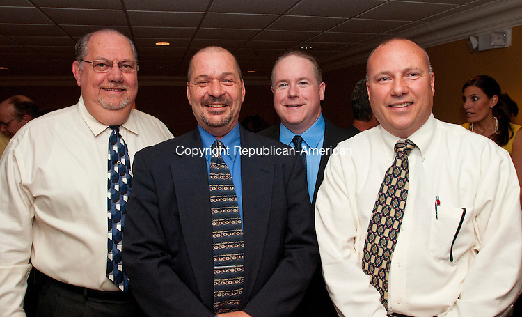 WATERBURY, CT, 30 SEPTEMBER, 2010-093010JS04-Joe Palladino, Fred Rosa, Bill Parratt and John Zarrella, all of  Campion Ambulance at the United Way of Greater Waterbury's benefit &quot;Roasting Dr. Jacoby&quot; Thursday at the Ponte Club in Waterbury. <br /> Jim Shannon Republican-American