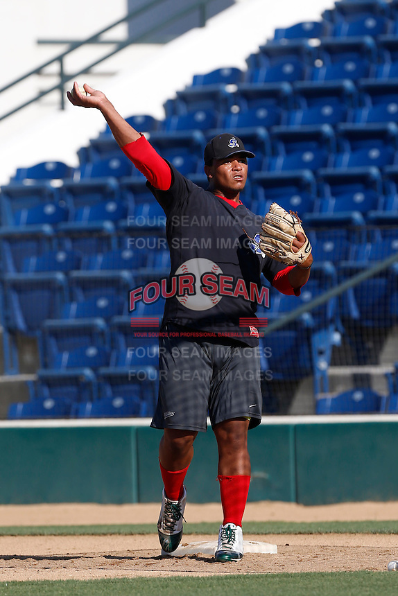 David Mota #18 of the Stockton Ports before a game against the Rancho Cucamonga Quakes at LoanMart Field on June 13, 2013 in Rancho Cucamonga, California. Stockton defeated Rancho Cucamonga, 8-4. (Larry Goren/Four Seam Images)