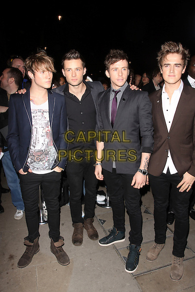McFLY - DOUGIE POYNTER, HARRY JUDD, DANNY JONES & TOM FLETCHER.Cosmopolitan Ultimate Women Of The Year Awards, Banqueting House, Whitehall Place, London, England. November 2nd, 2010..outside full length boy band group black skinny jeans boots jacket grey gray suit tie white shirt navy blue .CAP/AH.©Adam Houghton/Capital Pictures.