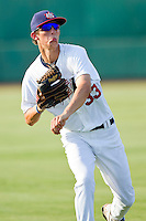 Hunter Virant #33 of the USA 18u National Team throws in the outfield prior to the game against the USA Baseball Collegiate National Team at the USA Baseball National Training Center on July 2, 2011 in Cary, North Carolina.  The College National Team defeated the 18u team 8-1.  Brian Westerholt / Four Seam Images