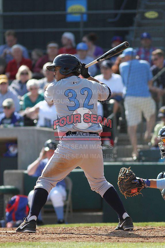 Wilmington Blue Rocks infielder Cheslor Cuthbert #32 at bat during a game against the Myrtle Beach Pelicans at Ticketreturn.com Field at Pelicans Ballpark on April 7, 2013 in Myrtle Beach, South Carolina. Wilmington defeated Myrtle Beach 7-2. (Robert Gurganus/Four Seam Images)