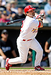 28 February 2007: St. Louis Cardinals second baseman Aaron Miles at bat during a pre-season, Grapefruit League game against the Florida Marlins on Opening Day for Spring Training at Roger Dean Stadium in Jupiter, Florida. The Cardinals and Marlins share Roger Dean Stadium and the training facilities which opened in 1998 as a co-development between the Cardinals and the Montreal Expos.<br /> <br /> Mandatory Photo Credit: Ed Wolfstein Photo