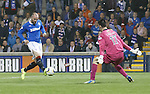 Kris Boyd is one-on-one with keeper Ross Laidlaw but manages not to score this time