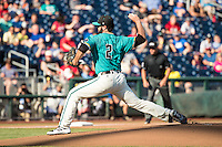 Zack Hopeck #2 of the Coastal Carolina Chanticleers pitches during a College World Series Finals game between the Coastal Carolina Chanticleers and Arizona Wildcats at TD Ameritrade Park on June 27, 2016 in Omaha, Nebraska. (Brace Hemmelgarn/Four Seam Images)