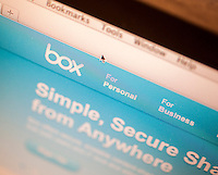 The website for Box, an online storage company, is seen on a computer in New York on Tuesday, March 25, 2014. Box filed for an initial public offering on Monday, seeking to raise $250 million.  (© Richard B. Levine)