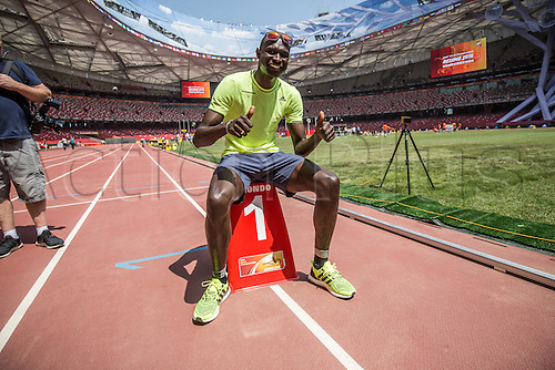 20.08.2015. Beijing, China.  World record holder in the 800 meters and Olympic gold medalist runner David Rushida of Kenya poses in the Bird's Nest Stadium in Beijing, China, 20 August 2015. The International Association of Athletics Federations (IAAF) Athletics World Championships will be held in Beijing from 22 to 30 August 2015.
