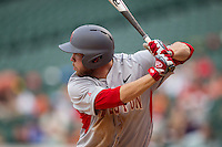 Houston Cougars first baseman Casey Grayson #18 at bat during the NCAA baseball game against the Texas Longhorns on March 1, 2014 during the Houston College Classic at Minute Maid Park in Houston, Texas. The Longhorns defeated the Cougars 3-2. (Andrew Woolley/Four Seam Images)