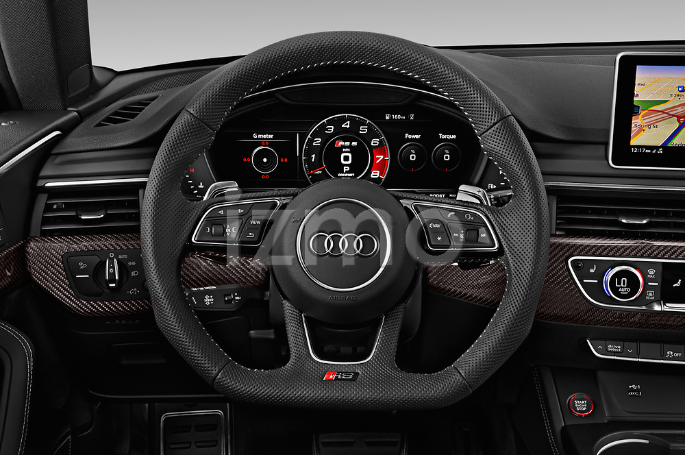 Car pictures of steering wheel view of a 2019 Audi RS-5-Sportback - 5 Door Hatchback Steering Wheel