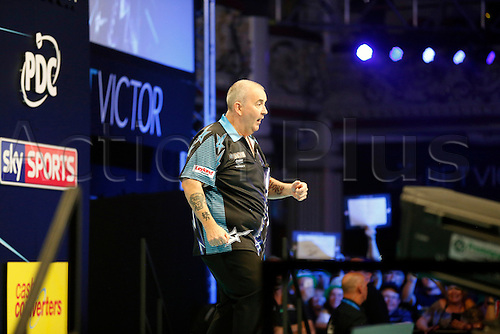 24.07.2016. Empress Ballroom, Blackpool, England. BetVictor World Matchplay Darts. Phil Taylor dances on stage before the game starts