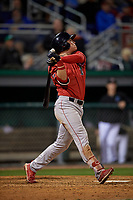 Lowell Spinners Nick Decker (21) bats during a NY-Penn League Semifinal Playoff game against the Batavia Muckdogs on September 4, 2019 at Dwyer Stadium in Batavia, New York.  Batavia defeated Lowell 4-1.  (Mike Janes/Four Seam Images)