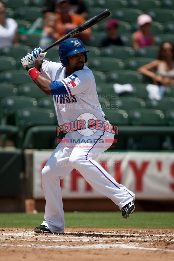 Round Rock Express outfielder Julio Borbon #20 at bat during the Pacific Coast League baseball game against the Memphis Redbirds on May 6, 2012 at The Dell Diamond in Round Rock, Texas. The Express defeated the Redbirds 5-1. (Andrew Woolley/Four Seam Images)
