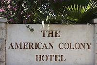 Asie/Israël/Judée/Jérusalem: Plaque de l'Hotel American Colony