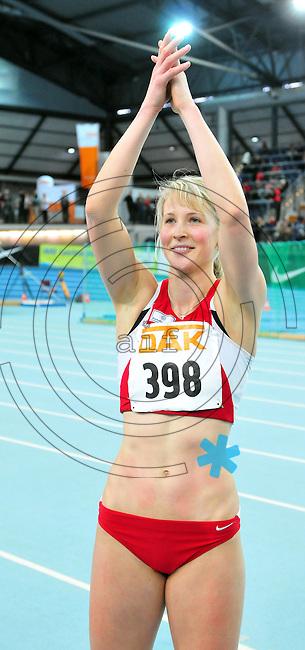 Leichtathletik - DHM 2009 Deutsche Hallenmeisterschaften - ARENA Leipzig - Track and Field - im Bild: Dreisprung Triple Jump Frauen - Siegerin Katja Demut (TuS Jena)..Foto: Norman Rembarz..Norman Rembarz, Holbeinstr. 14, 04229 Leipzig, Hypo-Vereinsbank, BLZ: 86020086, Kto: 357889472, Ust. ID.: DE 256991963 St. Nr.: 231/261/06432 !!!!!!  Honorar zuzüglich 7 % Mwst !!!!!!!!